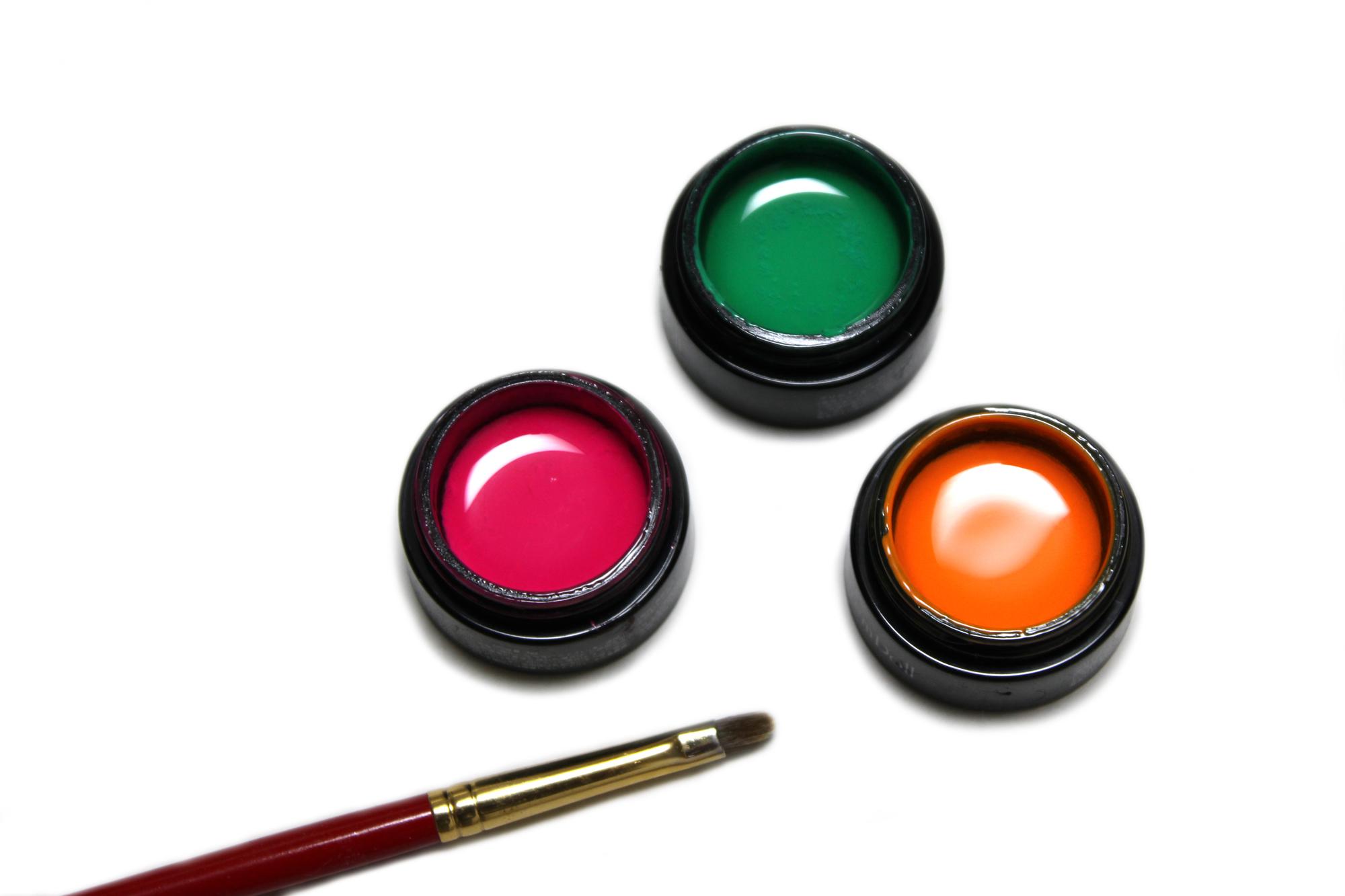 赤と緑とオレンジのカラージェル