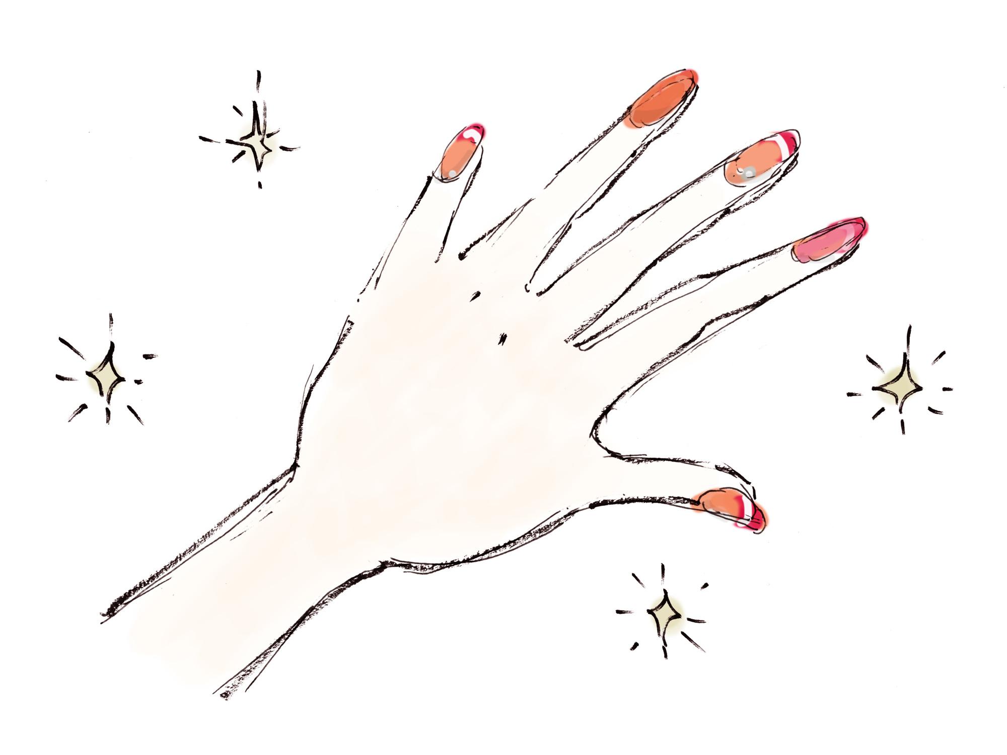 手がピカピカに光るネイルアートのイラスト